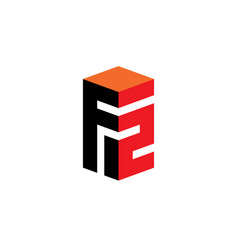 design element or 3d icon letter f and number 2 vector image