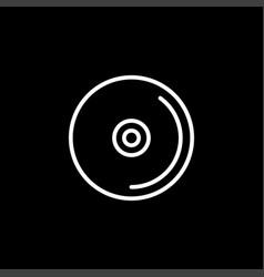 dvd or cd line icon on black background black vector image