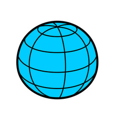 earth globe sphere 3d with wireframe lines blue vector image