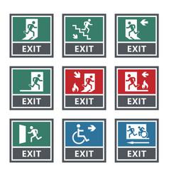 emergency fire exit sign set exit door label vector image