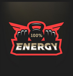 energy sports logo on a dark background vector image vector image