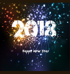 fireworks for happy new year 2018 vector image