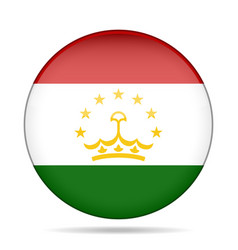Flag of tajikistan shiny round button vector