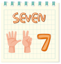 Flashcard design with number seven vector