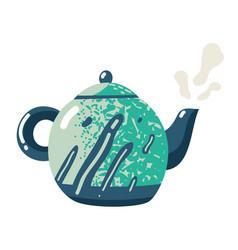 flat teapot kettle ceramic crockery sign fresh vector image