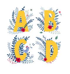floral alphabet letter a b c d set vector image