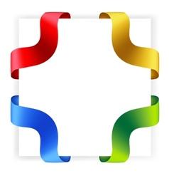 Four satin ribbon corners vector
