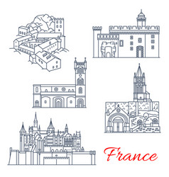 France travel landmarks of tours in aquitaine vector