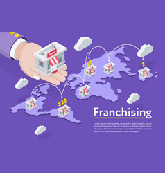 Franchising chain on map vector