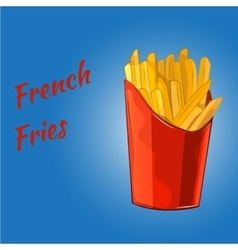 French fries on the blue background vector