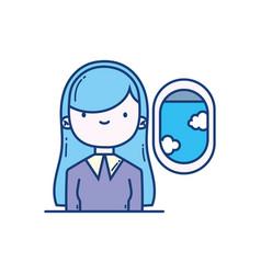 girl passenger airplane travel aviation transport vector image