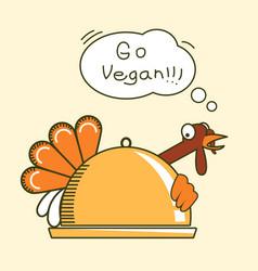 go vegan thanksgiving turkey bird color symbol vector image