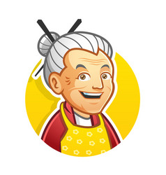 Grandma or granny mascot character logo design vector