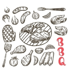 Grill Sketch food set BBQ food is sausages etc vector