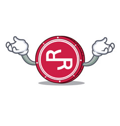 Hand up rchain coin character cartoon vector