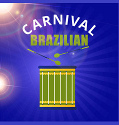 happy brazilian carnival day green drum and white vector image