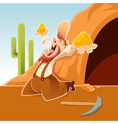 Happy cartoon Prospector vector