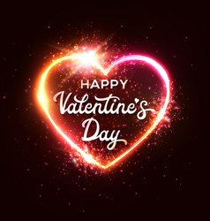 happy valentine s day greeting card on red heart vector image