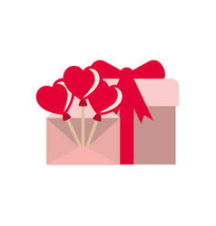 Heart balloons with gift box isolated icon vector