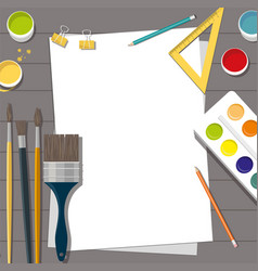 Hobby paints brushes pencils pen paper vector