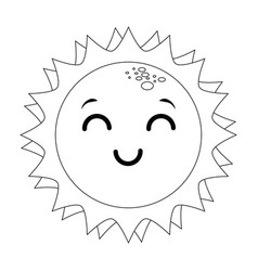 isolated kawaii sun face vector image