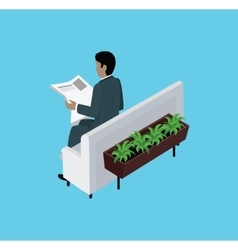 Isometric Man Reading Newspaper Design Flat vector image
