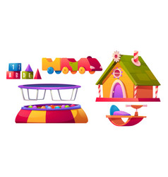 kids playroom furniture and equipment set isolated vector image