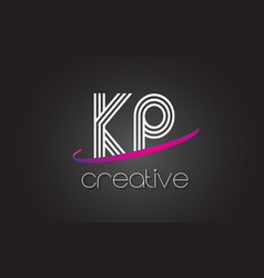 kp k p letter logo with lines design and purple vector image