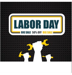 Labor day big sale 50 off big sale hand holding w vector