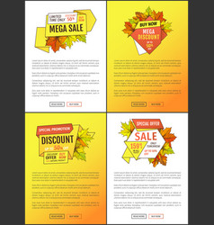 Leaflets set limited time super offer autumn sale vector