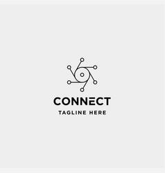 lens hexagon technology logo design camera vector image