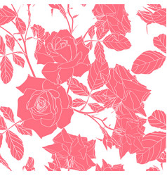 line pink roses flowers pattern vector image