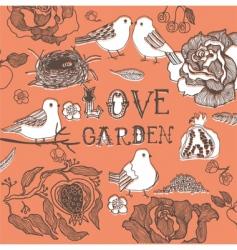 love birds in garden vector image