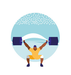 man practicing lifting weight avatar character vector image