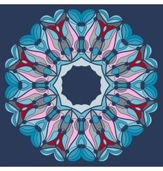 Mandala in blue Fflower like kaleidoskopic tribal vector image