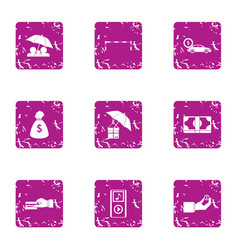 Money residue icons set grunge style vector