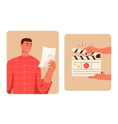 Movie making scene set actor reads script hands vector