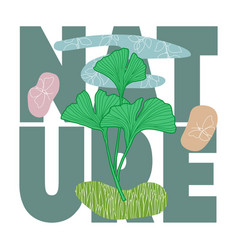 natural abstract botanical t shirt print vector image