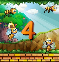 Number four with 4 bees flying in garden vector