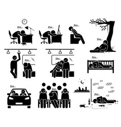 people sleeping at different places stick figure vector image