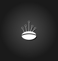pincushion with pins icon flat vector image