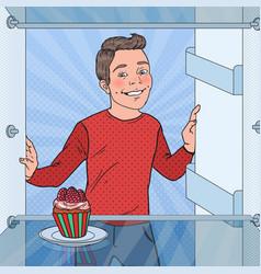 pop art boy sees tasty cake in the fridge vector image
