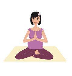 Pregnant girl namaste pose vector