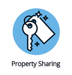 property sharing economy key icon black outline vector image