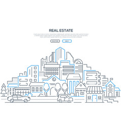 Real estate - modern line design style web banner vector