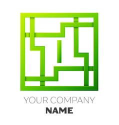 Realistic letter i symbol in colorful square maze vector