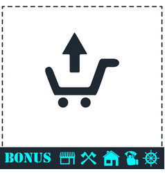 Remove shopping cart icon flat vector
