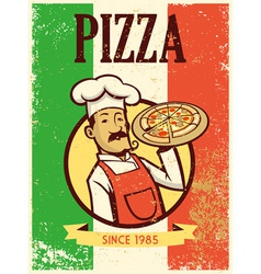 Retro style chef presenting a plate of pizza vector
