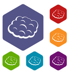 Round cloud icons set hexagon vector
