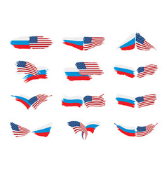 russia and usa national flags vector image